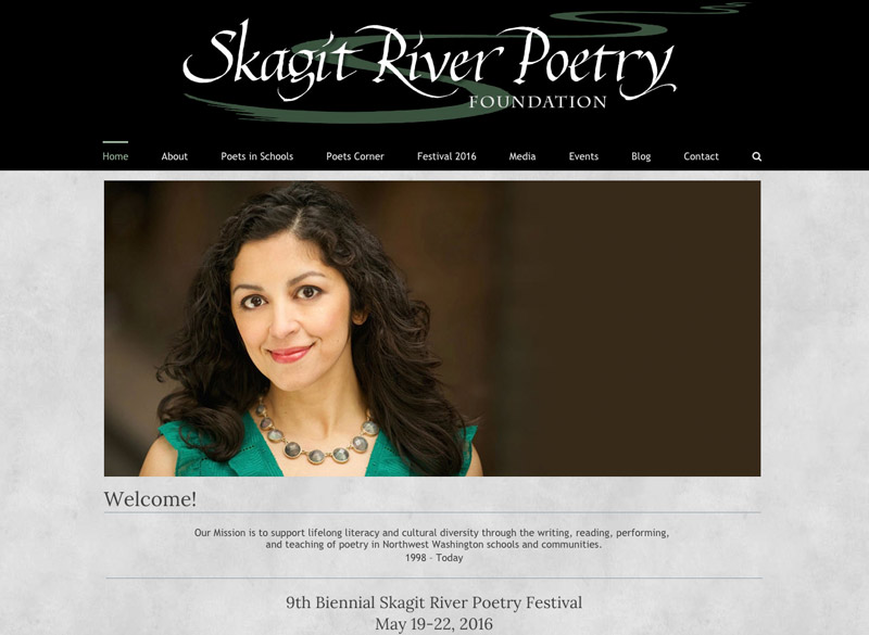 Skagit River Poetry Foundation website,  WordPress website, created by Ritama Design