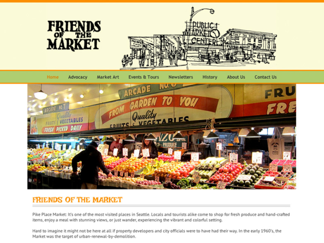 Friends of the Pike Place Market, WordPress website, created by Ritama Design
