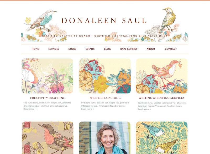 Donaleen Saul, Coaching & Feng Shui WordPress website, created by Ritama Design
