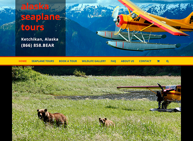 Alaska Seaplane Tours WordPress website, created by Ritama Design
