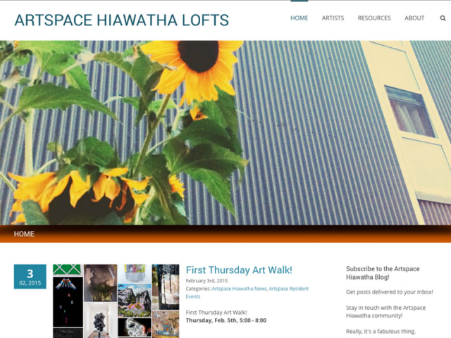 Artspace Hiawatha Lofts, WordPress website, created by Ritama Design