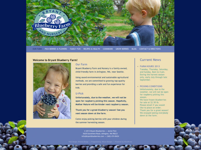Bryant Blueberry Farm, WordPress website, created by Ritama Design