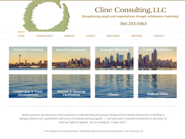 Cline Consulting, WordPress website, created by Ritama Design