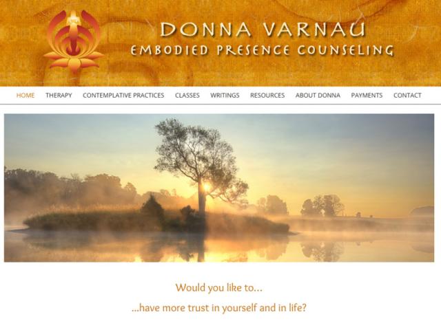 Donna Varnau, Therapist, WordPress website, created by Ritama Design