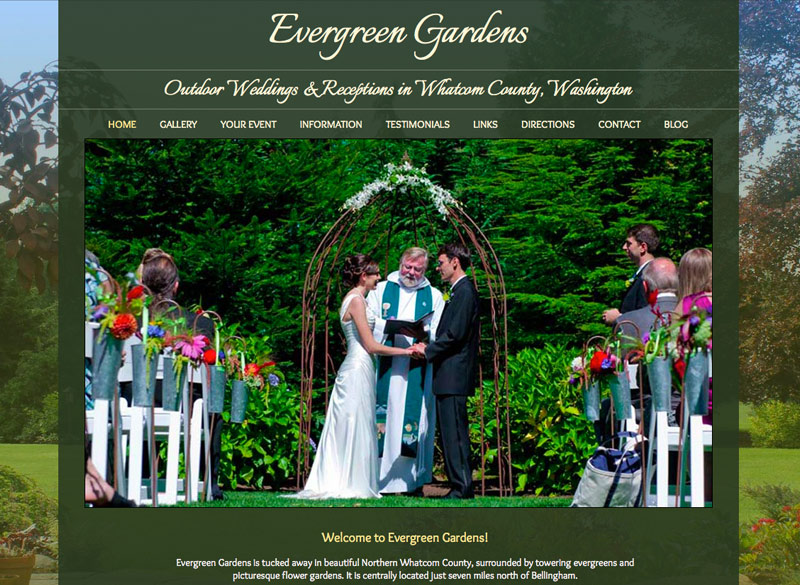 Evergreen Gardens Weddings, WordPress website, created by Ritama Design