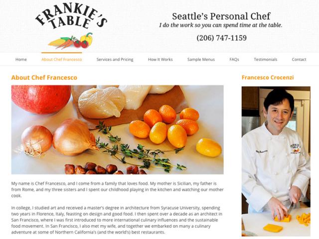 Frankie's Table, WordPress website, created by Ritama Design