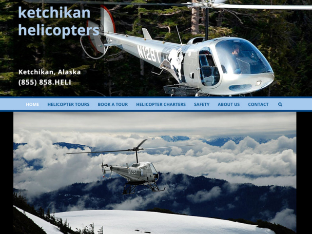 Ketchikan Helicopters WordPress website, created by Ritama Design