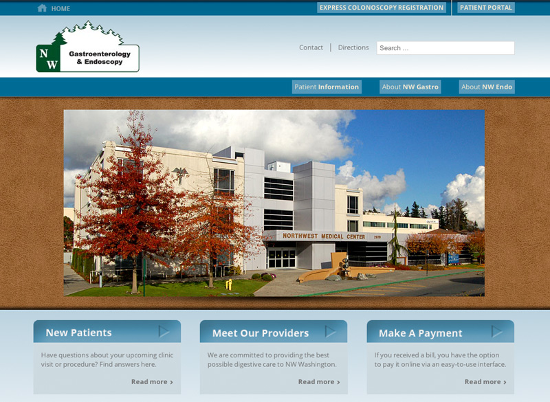 NW Gastroenterology, WordPress website, created by Ritama Design