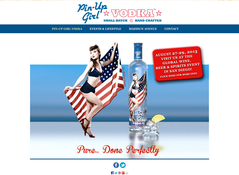 Pin-Up Girl Vodka, WordPress website, created by Ritama Design