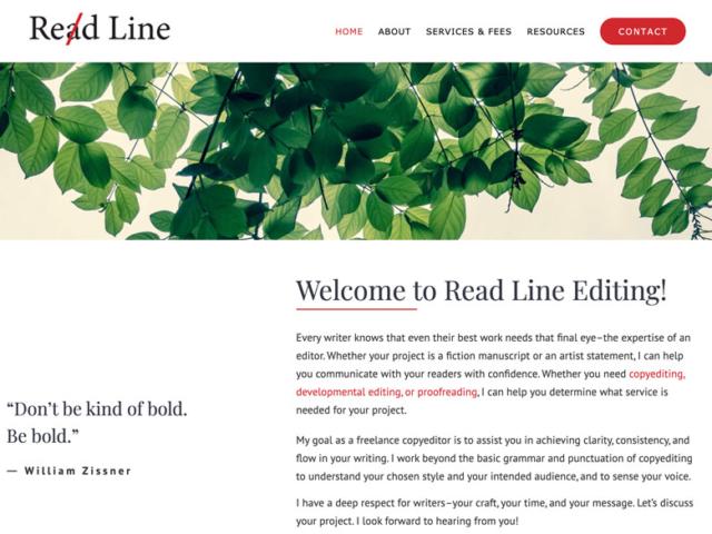 Read Line Editing, WordPress website, created by Ritama Design