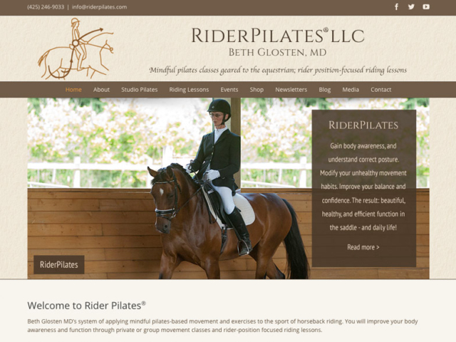 RiderPilates, WordPress website, created by Ritama Design