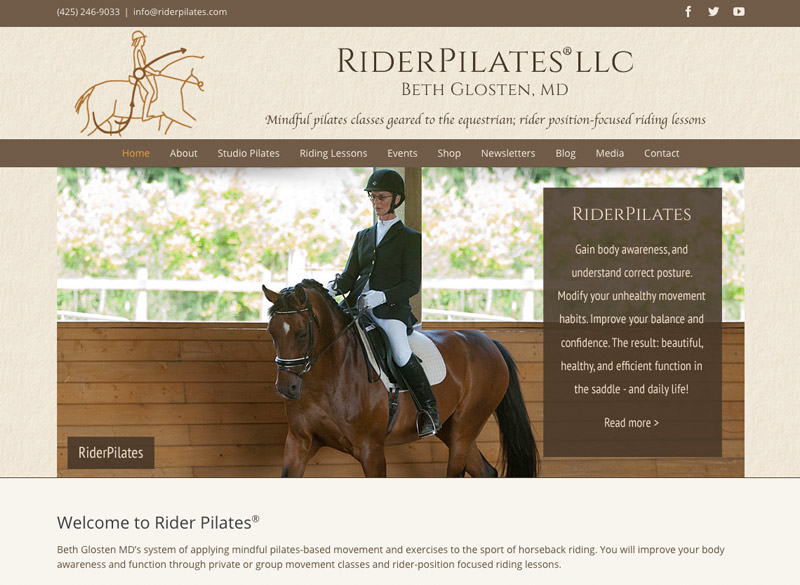 RiderPilates, WordPress website, created by Ritama Design
