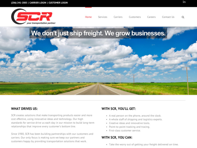 SCR AIR, Freight Transport, WordPress website, created by Ritama Design