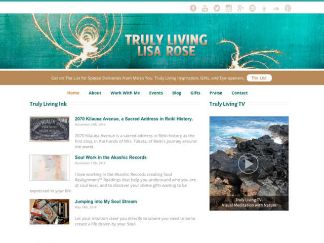 Truly Living with Lisa Rose, WordPress website, created by Ritama Design