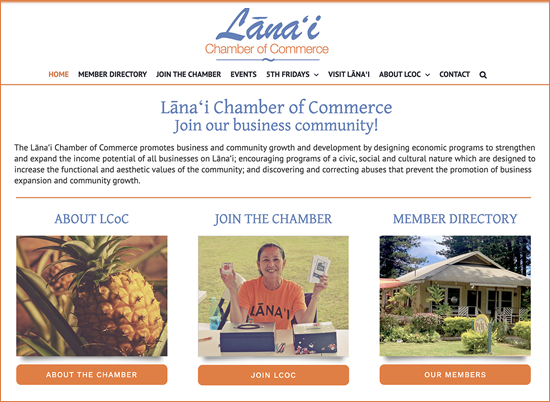 Website for the Lānaʻi Chamber of Commerce by Ritama Website Design, Maui, Hawaii